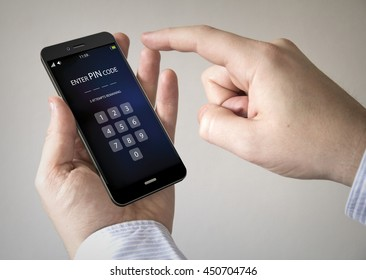 Close up of man using 3d generated mobile smart phone with pin code on the screen. Screen graphics are made up.