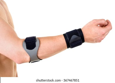 Close Up of Man Wearing Orthopedic Wrist and Elbow Braces in Studio with White Background and Copy Space