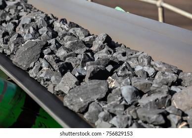 Close up of Manganese ore on a conveyor belt