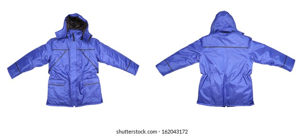 Close up of man's blue jacket. Isolated on a white background.