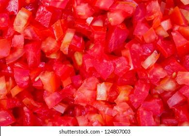 close up many dice tomato