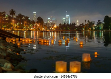 Close up of many lantern with downtown skyline in Lotus Festival Echo Park at Los Angeles, California