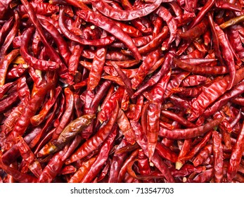 Close up of many red chili peppers for background.
