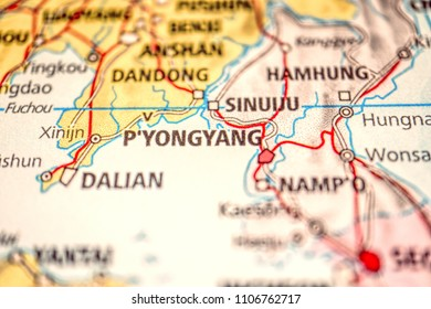 Close up Map of Korea Peninsula, South Korea And North Korea