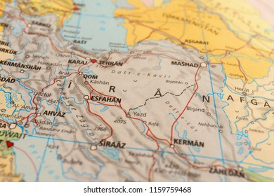 Close up Map of the Middle East Countries.