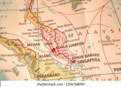 Close up Map of South East Asia Countries