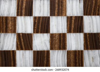 Close up of a marble chessboard made by hand