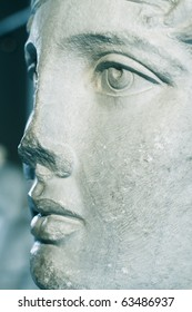 close up of marble statue face of a beautiful woman