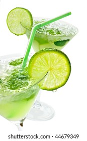 Close up margaritas with lime