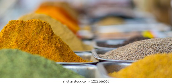 Close up of masala spice at a local food market in New Delhi, India.