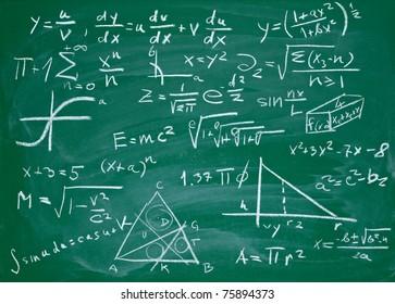 close up of math formulas on a blackboard