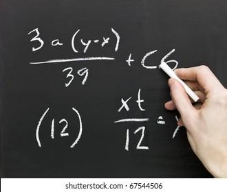 Close up of Mathematics on a blackboard