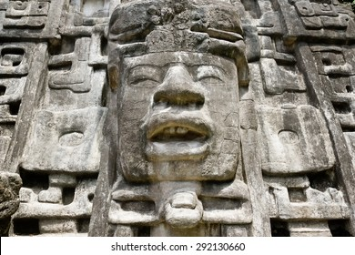 Close up of Maya Mask Temple located in the forest of Belize.