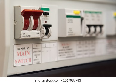 Close up of a MCB (Micro Circuit Breaker) on a UK domestic electrical consumer unit or fuse box