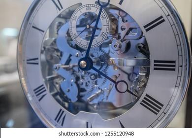 close up of mechanical clock