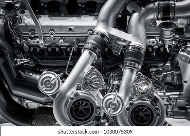 Close up of the mechanics of a car engine.