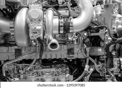 Close up of the mechanics of a large diesel engine