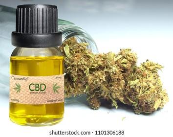 close up of medical marijuana and oil
