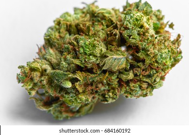 Close up of medical marijuana Presidential OG strain bud isolated on background