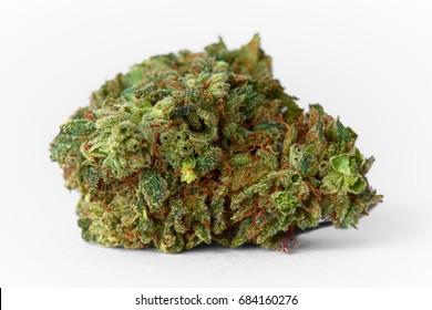 Close up of medical marijuana Presidential OG strain bud isolated on background