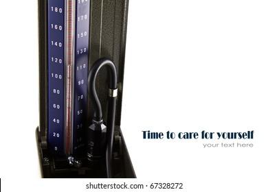 Close up of Medical sphygmomanometer for blood pressure control.