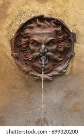 Close up of medieval street drinking fountain with bronze head, Italy. Selective focus