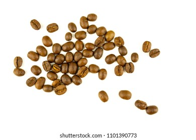 close up of medium or dark roasted coffee beans isolated on white background, can be used as a background or graphic object in your ads.