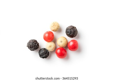 Close up medley trio colorful peppercorn isolated on white background