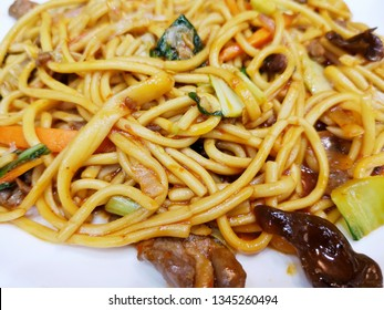 Close up mee goreng or fried noodle. Mee Goreng is popular food in Malaysia, Indonesia and Singapore.