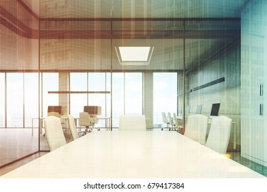 Close up of a meeting room table with white office chairs standing in a modern office with glass walls. 3d rendering toned image double exposure