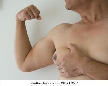 close up men boob of fat man