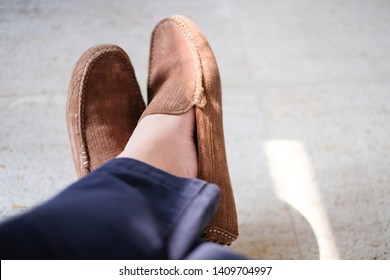 Close up Men in Brown Loafer