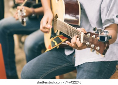 Close up Men Playing Acoustic Guitar, Acoustic Guitar Playing.