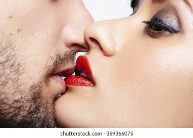 Close up of a men and woman lips wants to kiss