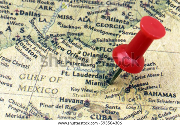 Close Miami Usa Map Red Push Stock Photo (Edit Now) 593504306