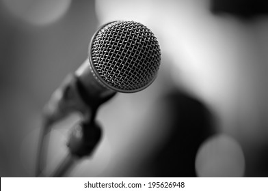 Close up of microphone - black and white