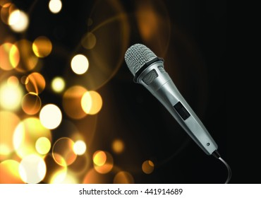 Close up of microphone with blurred lights black at background