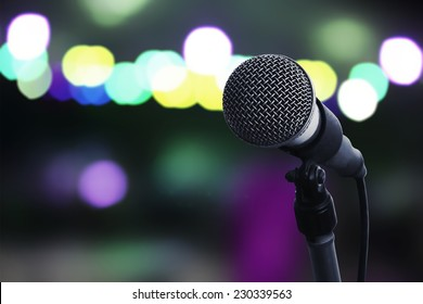 Close up of microphone in concert