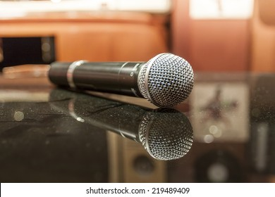 Close up of microphone in concert hall or karaoke room
