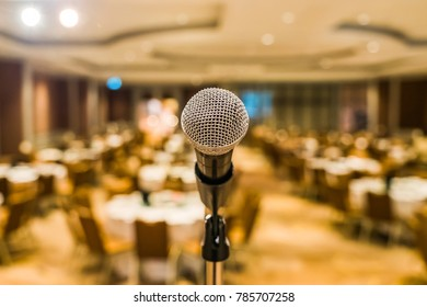 Close up of Microphone in meeting room for a seminar