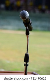 Close up of microphone for  outdoor event