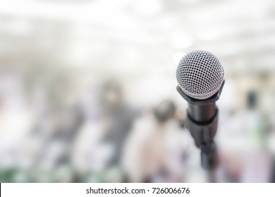 Close up of microphone in party hall or conference room