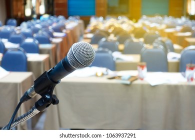 Close up of microphone in seminar or meeting room.