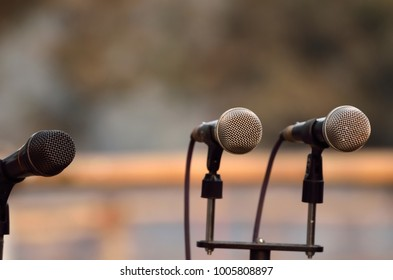 Close up of microphone in a stage