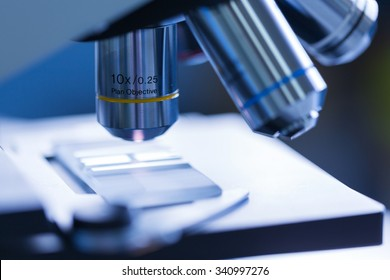 Close up of microscope at the blood laboratory, Concept Science and Technology