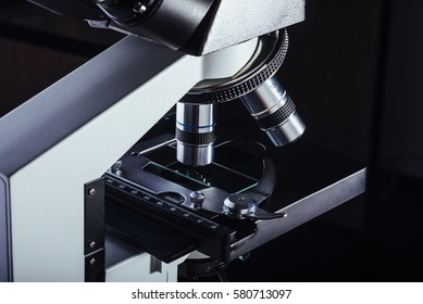 Close up of microscope at the laboratory