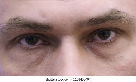 Close Up of Middle Age Man Blinking Eyes