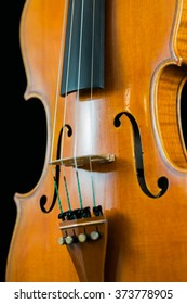 Close up of the middle section of a violin.