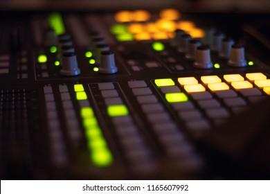 close up midi controller night background