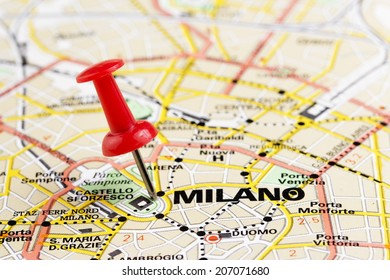 Close up of Milano map with red pin